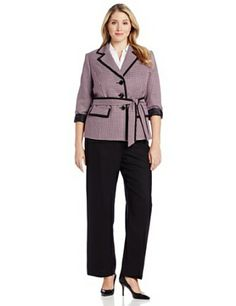LeSuit Women's Le Plus Size 3 Button Framed Selft Belted Plaid Jacket and Pant Suit Set, Peony/Multi, 20 Button Frames, Plus Size Suits, Suits For Women, Clothes For Women, Plaid Jacket, Dress To Impress, Amazing Women, Work Wear, Latest Trends