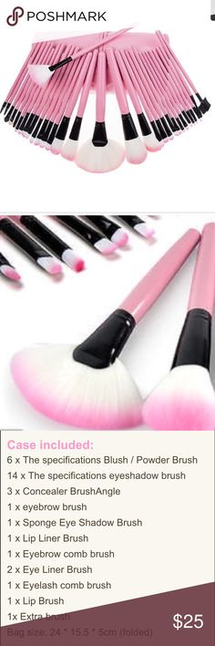 🎀NWT Last One 32 pc pink makeup brushes w/case New.come with leather case.high-quality fiber, hypoallergenic Fine and smooth hair soft, skin-friendly and strong.Beautiful and stylish, easy to carry. Makeup