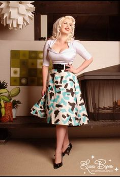 Pinup Couture Doris Swing Skirt s Rockabilly Pin Up Girl Clothing Teal  Brush  9628a9752d8