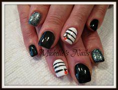 Cindy M #michelletysonsnails #nails #nailart #naildesigns #handpaintednailart #blackandsilver #babypumpkin