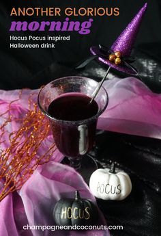 The movie Hocus Pocus inspired our drink recipe, Another Glorious Morning. Taking its name from the first line of the movie, this black raspberry drink is low-calorie - only 67 calories - and is great for serving at your Halloween parties. It makes a great big batch punch too! You can serve it both with and without alcohol. #champagneandcoconuts #HocusPocus #Halloween #drinks #cocktails #mocktails #vodka #Halloweenrecipes