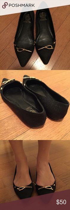 Vince Camuto classy black flats durable material, water resistant. exterior is hard with glittery black and gold bow. Vince Camuto Shoes Flats & Loafers