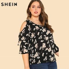 Shop Plus Open Shoulder Ditsy Floral Print Top online. SHEIN offers Plus Open Shoulder Ditsy Floral Print Top & more to fit your fashionable needs. Plus Size Womens Clothing, Plus Size Outfits, Plus Size Fashion, Size Clothing, Plus Size Women's Tops, Plus Size Blouses, Cute Blouses, Blouses For Women, Evening Tops