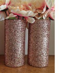 2 Glass Vases, Rose Gold Vases, Wedding Centerpieces, Rose Gold Centerpieces, Rose Gold Wedding, Wedding, Bridal Shower Decorations, favors by EverydayDesignEvents on Etsy