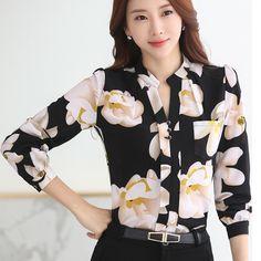 bbdee978d5a6a Women Flowers Printing Chiffon Blouses Floral Print Casual Shirts V Neck  Long Sleeve Fashion Women Tops