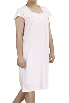EZI Womens Nightgowns13 Short Sleeve Cotton Lingerie NightgownPink1X * BEST VALUE BUY on Amazon #BabydollDress