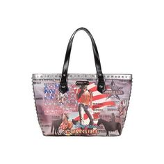 Women's Nicole Lee Cowgirl Flag Print Shoulder Bag - Cowgirl Flag... ($80) ❤ liked on Polyvore featuring bags, handbags, shoulder bags, silver, silver handbags, faux-leather handbags, western handbags, white purse and nicole lee purses