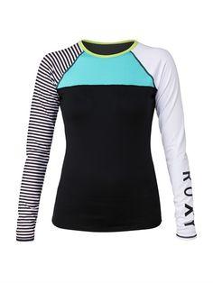 KVJ0Neon Tide Long Sleeve Top | Roxy | $46 | Pair w/ bikini bottom Rash Guard Women, Cute Swimsuits, Swim Dress, Roxy, Beachwear, Women's Swimwear, Bikinis, Long Sleeve Tops, Surfing