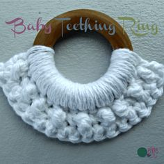 FREE crochet pattern for a Baby Teething Ring. The pattern suggests that you crochet half-way around a wooden ring to help soothe the gums of a teething baby. Crochet Gifts, Crochet Yarn, Crochet Toys, Crochet Flowers, Free Crochet, Crochet Baby Blanket Beginner, Baby Knitting, Easy Crochet Patterns, Crochet Designs