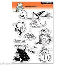New Penny Black BE VERY SCARED Clear Stamps Witch Count Cat Pumpkin Spider Bat