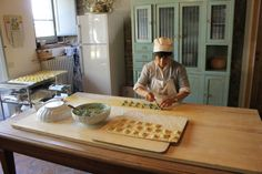 Maria making ricotta and spinach ravioli