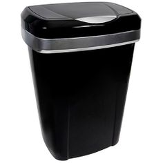 Hefty Premium Touch Lid Trash Can, 12.2 Gallon Trash Can, Black with Silver Trash Bin, Kitchen Trash Can