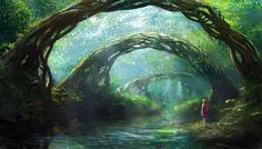 art, Illustration, stream, forest, nature