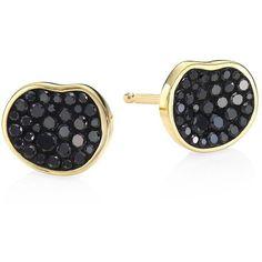 Plevé Petite Black Diamond Pebble Stud Earrings ($1,145) ❤ liked on Polyvore featuring jewelry, earrings, petite jewelry, pave jewelry, 18 karat gold stud earrings, black diamond stud earrings and 18 karat gold jewelry