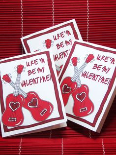 Ukulele Valentine card 'Uke'n be my Valentine' Ukulele player gift for uke musician love and hearts