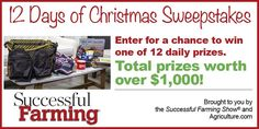 The Successful Farming TV Show Holiday sweepstakes. Enter for a chance to win one of twelve prize packages.