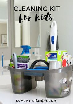 A Cleaning Kit for Kids is the perfect way to get your children excited about completing their chores! Grab a bucket + some supplies, & let's get cleaning! Chores For Kids By Age, Kid Chores, Diy Home Decor Bedroom, Household Chores, Kits For Kids, Cleaning Kit, Kids Corner, Adult Children, Spring Cleaning