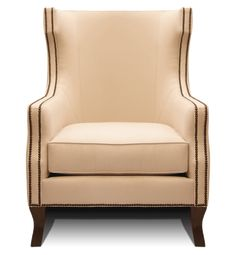 Belinda collection custom upholstered wing back accent chair with nail head trim and custom colored wood legs