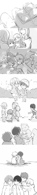 Growing up together ...    Drawn by 木由子 ... Free! - Iwatobi Swim Club, free!, iwatobi, makoto tachibana, makoto, tachibana, haruka nanase, haru nanase, haru, haruka, nanase, nagisa, hazuki, nagisa hazuki, rin matsuoka, matsuoka, rin