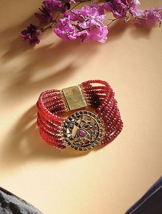 Buy Ruby and Polki Gold Bracelet Online at Jaypore.com Bangle Bracelets, Bangles, Shopping Coupons, Old World, Pink, Gold, Stuff To Buy, Accessories, Jewelry