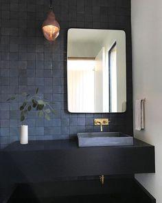 Ideas for the bathroom: 55 blue bathroom design ideas … - Bathroom Blue Bathrooms Designs, Dark Bathrooms, Bathroom Taps, Amazing Bathrooms, Small Bathroom, Bathroom Lighting, Bathroom Modern, Minimalist Bathroom, Bathroom Fixtures