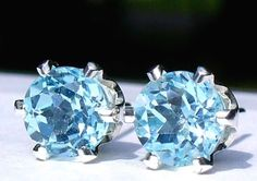 NEW Silver EARRINGS with 6mm 1ct each Bright Sky Blue BRAZILIAN TOPAZ #Handmade #Stud
