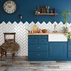 Herringbone: The trendiest layout for tiles right now is the herringbone pattern. It takes its name from a fish spine, and it works very well with metro tiles and wood effect planks.
