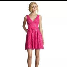 BCBG Max Azria bright pink lace sparkle dress NWT bcbg pink cocktail with lace and sequins dress. Katarina style. V-neck, open back, a-line fit with slightly full skirt. Perfect for a fun holiday party. BCBGMaxAzria Dresses Mini