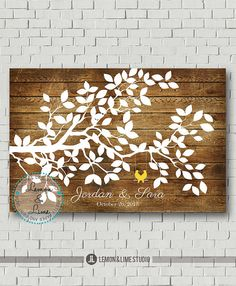 Wedding Guest Book  Signature Tree  Wedding by MarshmallowInkLLC