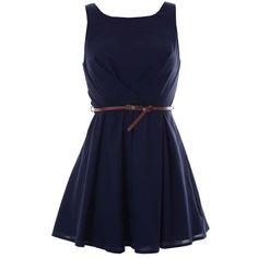 Navy Pleated Waist Dress ❤ liked on Polyvore