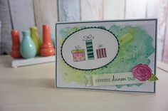 Stampin Up, Aquarellpapier, Aquarell, Technik, Hintergrund, Karte, Card, Birthday, Geburtstag, Claudiasecke
