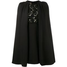 Giambattista Valli  macrame lace cape dress ($2,645) ❤ liked on Polyvore featuring dresses, black, lace panel dress, mini dress, short lace dress, giambattista valli dress and back zipper dress