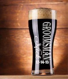 Custom Wedding toasting glass Beer Groomsmen Gift, Personalized Toasting, Pint Glasses, Beer Mugs, Gifts Groomsmen, Pilsner Glassware by BackRoadsPZ on Etsy