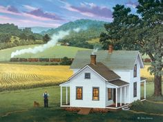 """A Passing Moment,"" artist, John Sloane Country Art, Country Life, Farm Art, Country Scenes, Old Farm, Naive Art, Pop Art, Beautiful Paintings, Painting Inspiration"