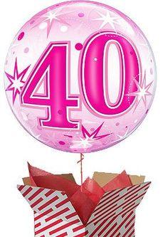 Large Pink Starburst Sparkle 40th Birthday Balloon