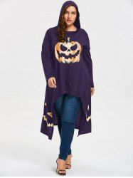 High Low Hooded Halloween Pumpkin Plus Size Tee - PURPLE