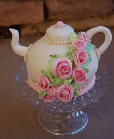 Rose Teapot Cake Centerpiece www.tablescapesbydesign.com https://www.facebook.com/pages/Tablescapes-By-Design/129811416695