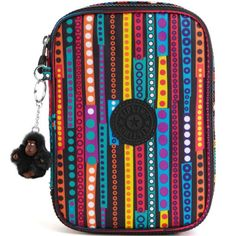 New-Kipling-100-Pens-Large-Pencil-Case-Circle-Striped