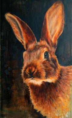 Young Hare / Jonge Belgische haas /  92 x 150 cm /  oilpainting / olieverfschilderij / 2012