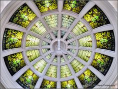 Stained glass dome of Wabash, Indiana Carnegie Public Library. Library Logo, Roof Ceiling, Old Wall, Glass Domes, Wall Murals, Stained Glass, Google Search, Image, Wallpaper Murals