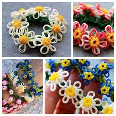 DIY Rainbow Loom Daisy Flower Bracelet.  Video--> http://wonderfuldiy.com/wonderful-diy-rainbow-loom-daisy-flower-bracelet/