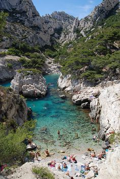 Rocky beach at Calanque de Sugiton near Marseille, France