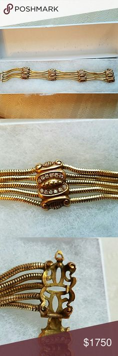 14K 54.9 Grams VINTAGE 5 STRANDS DIAMONDS BRACELET This is a beautiful heavy piece of jewelry, please feel free to ask questions about this bracelet. Jewelry Bracelets