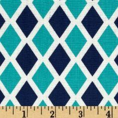 Happy Land Madison Midnight Blue/Aqua Fabric By The YD