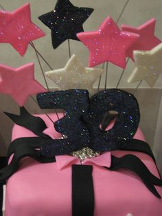 Red velvet cake decorated in hot pink fondant with black and white accent piece and shooting stars covered in disco dust This is the first time I've ever made a cake like this. 30 Birthday Cake, Birthday Cakes For Women, Golden Birthday, 30th Birthday Parties, Anniversary Parties, 40th Anniversary, 30 Bday Ideas, Birthday Ideas, 30 Cake