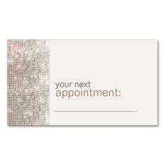 Modern and Hip Business Sequin Appointment Card 1 Double-Sided Standard Business Cards (Pack Of 100). This great business card design is available for customization. All text style, colors, sizes can be modified to fit your needs. Just click the image to learn more!