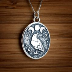 Raven and Triple Moon Pendant - STERLING SILVER - (Just the pendant, chains are sold separately.) by LittleDevilDesigns on Etsy https://www.etsy.com/listing/56833763/raven-and-triple-moon-pendant-sterling