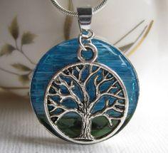 Glass Art Jewelry Necklace, Blue Sky Necklace,  Necklace Tree Art,  Mosaic Tree, Stained Glass Tree by AimeezArtz on Etsy https://www.etsy.com/listing/105016778/glass-art-jewelry-necklace-blue-sky