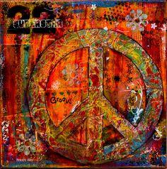 Mixed Media Canvas Peace Sign