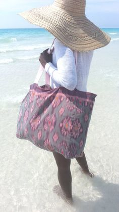 Extra Large Bali Ikat Weave Beach Bag Tote | Woven beach bags
